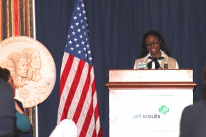 Zoë Gadegbeku- A 2013 National Young Woman Of Distinction Represents Highest Achieving Girls Scout,s addresses legislators and Leaders on Capitol Hill in celebration Women's Leadership at the Unveiling of The Girl Scouts Centennial Commemorative Coin.